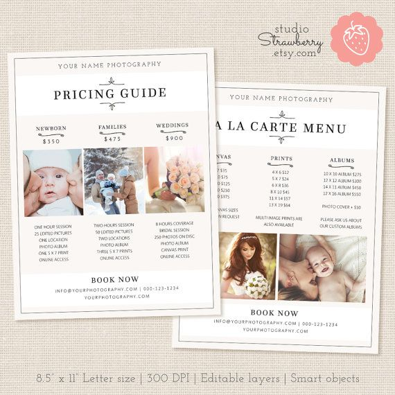 Photography pricing template psd