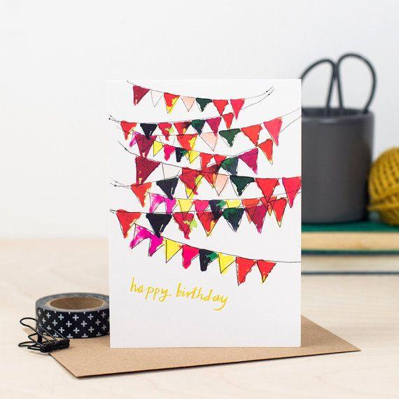 Bunting Birthday Card Happy Birthday Card Birthday Bunting Cute