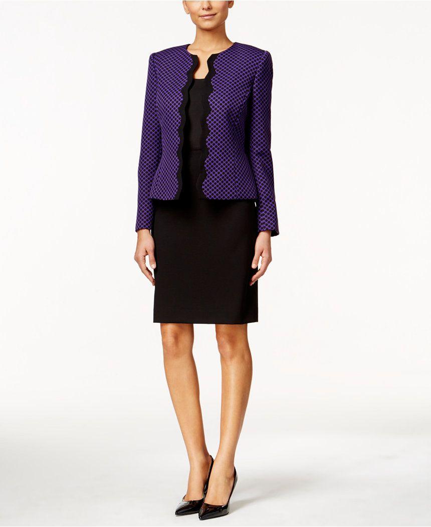 dd0bfab0d17 Tahari ASL Jacquard-Dot Scallop-Edge Skirt Suit - Wear to Work - Women -  Macy s