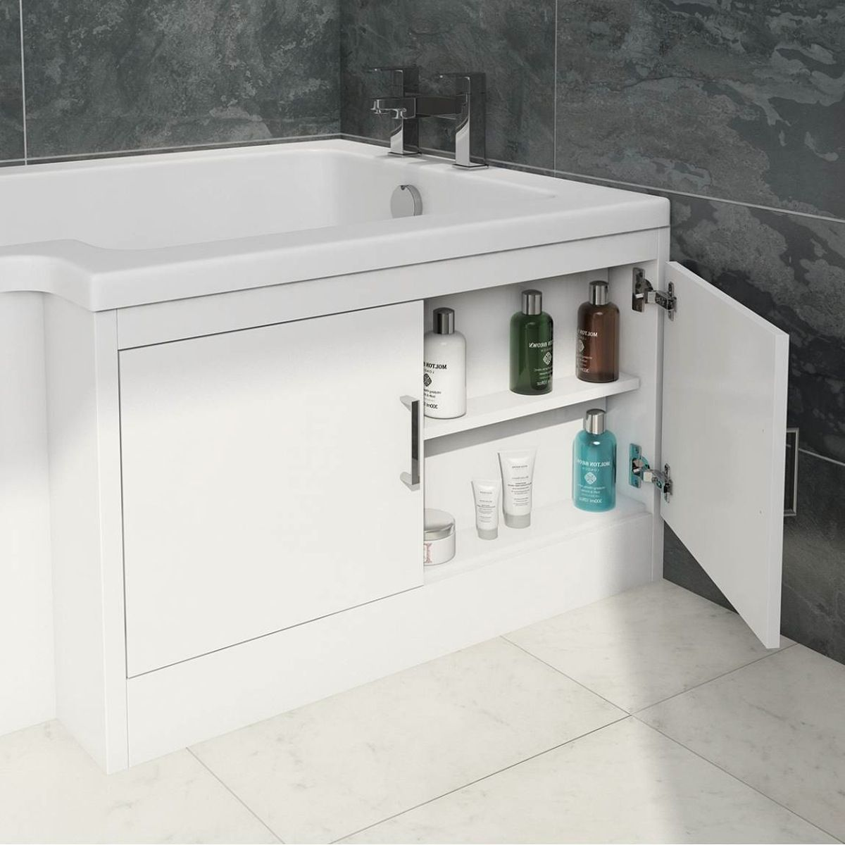 See our water saving L shaped shower bath with storage bath panel ...