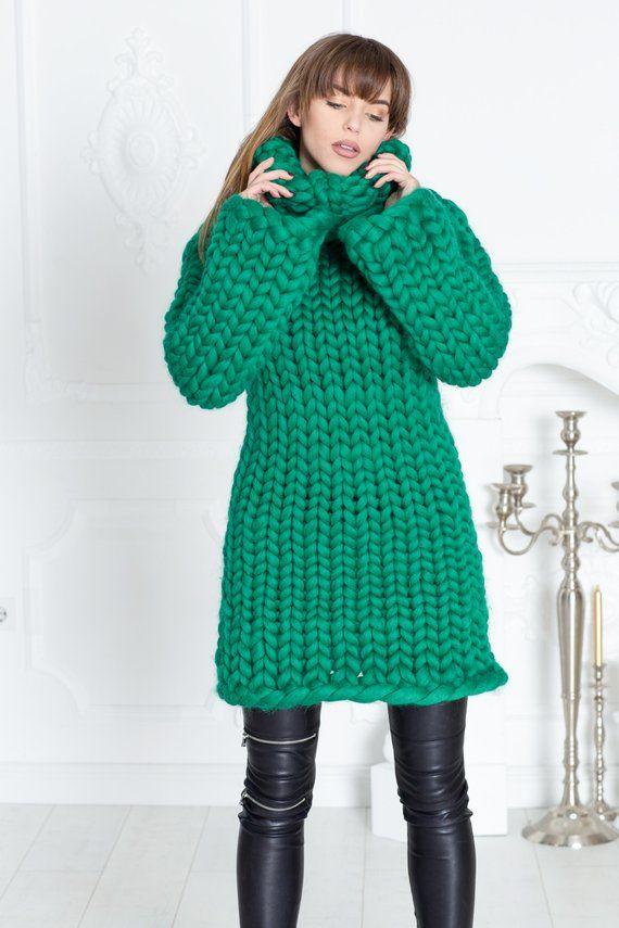 35 Kg Merino Wool Sweater Dress Huge Super Chunky Knit Etsy