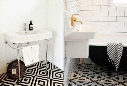 Badkamers voorbeelden » zwart witte patroontegels   huis / wc ...