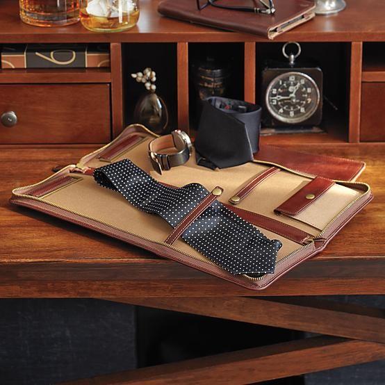 leather excursion tie + accessories case #travel