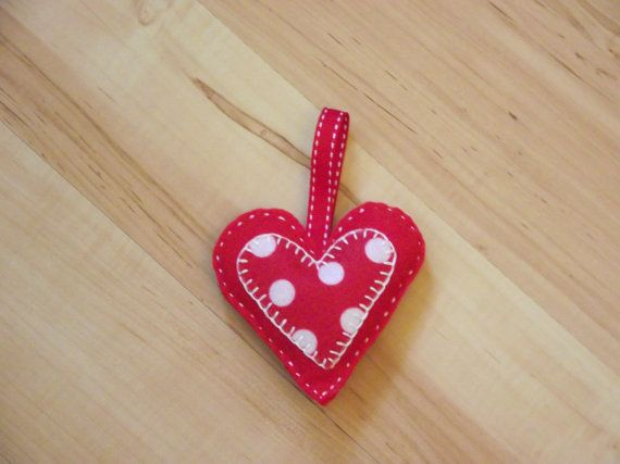 Christmas Tree Decoration Felt Heart with Spotty inlay Heart handstitched on Etsy, £4.00