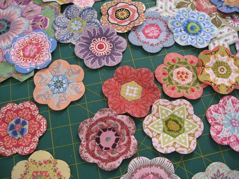 Fussy Cut Hexagon Flowers Beautiful English Paper