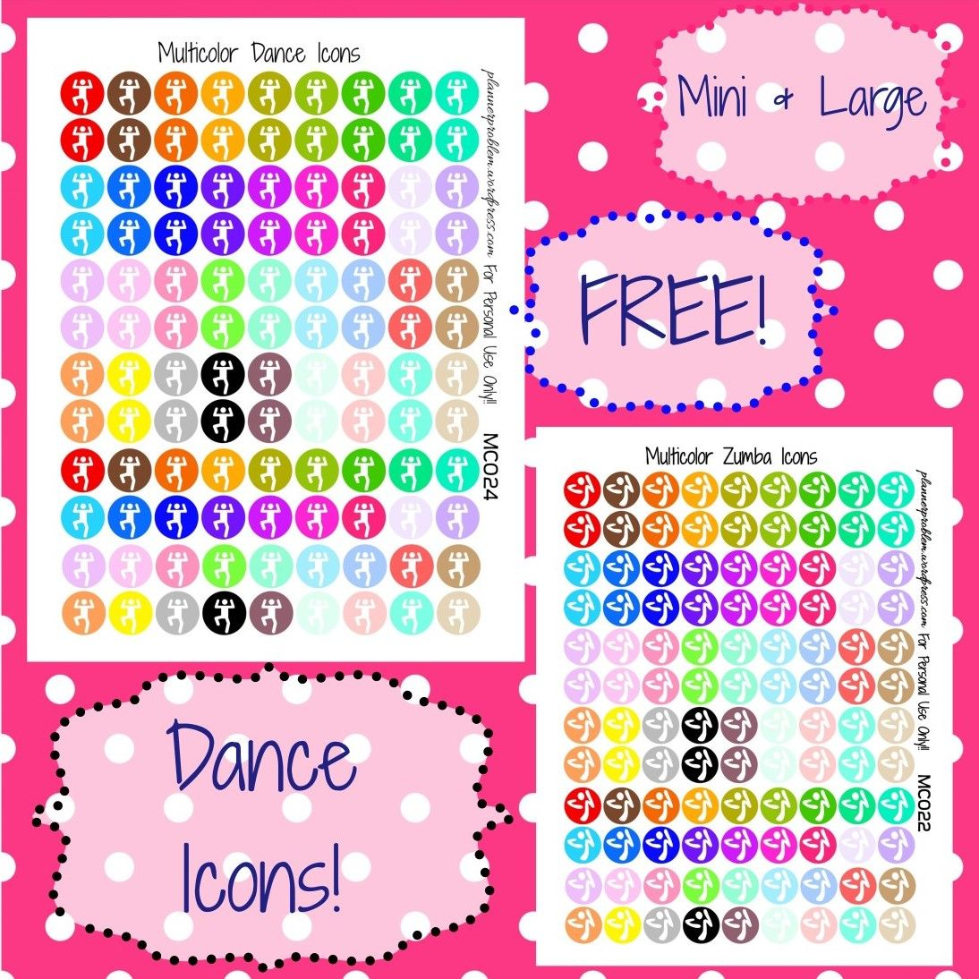 Multicolor dance zumba icons free printable planner