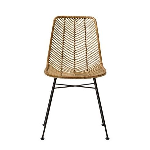 Bloomingville Lena Dining Chair In Natural Rattan Black Legs