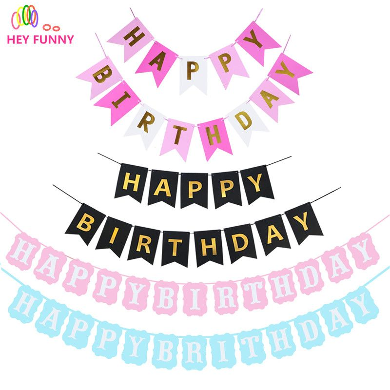 Pastel Pink /& Gold Happy Birthday Bunting Banner Girl Baby Shower Birthday Party Hanging Decoration