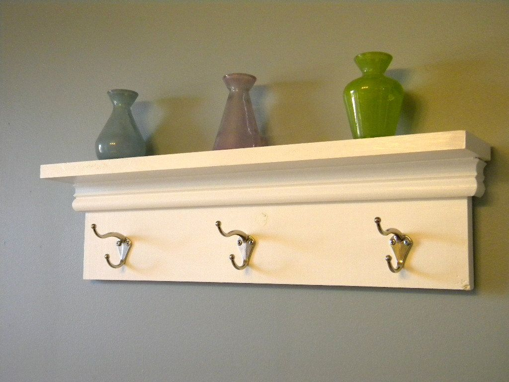 Wall Shelf with Hooks | White coat racks, Shelves and Coat racks
