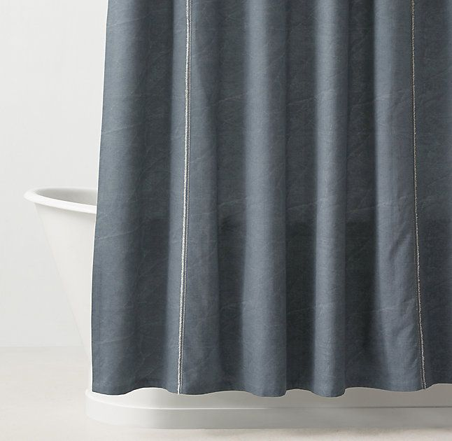 RH TEENs Distressed Canvas Shower CurtainIts All In The Details Cotton Gives Our Curtain A No Nonsense Quality While Gentle Distressing