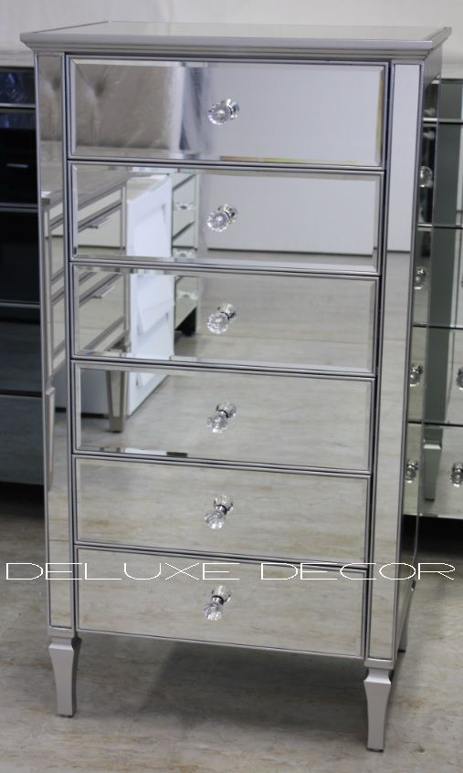 Clair Silver Edge Silver Mirror 6 Drawer Mirrored Narrow Slim