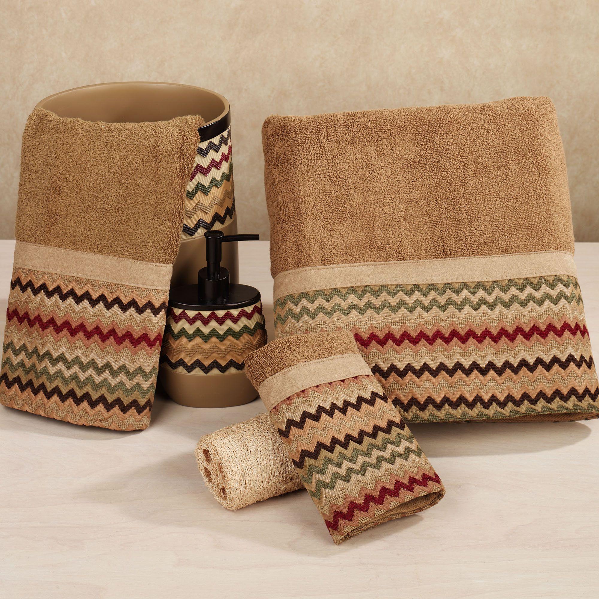 Southwest Kitchen Towel Designs Home Waves Towel Set Tan Brown