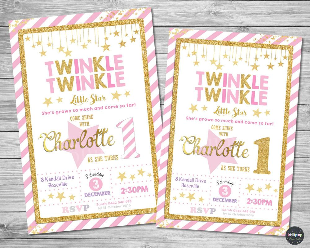 Twinkle little star invitation invite 1st first birthday party card ...