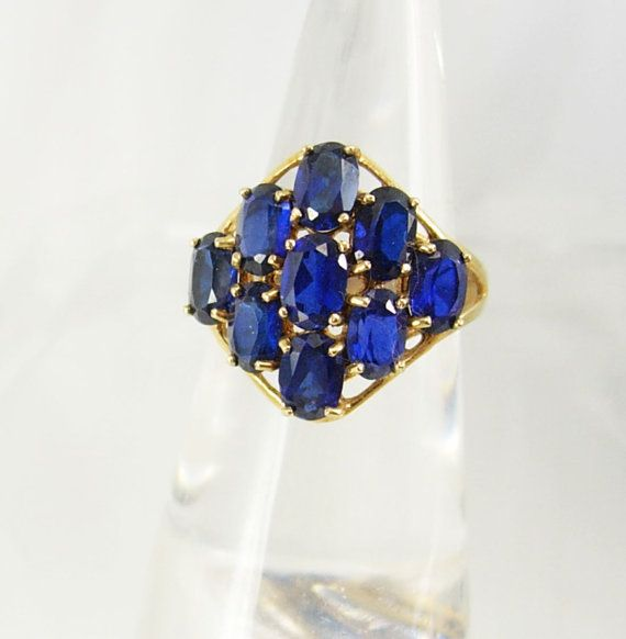 VIntage Blue sapphire Gold ring Cocktail by vintagesparkles, $245.00