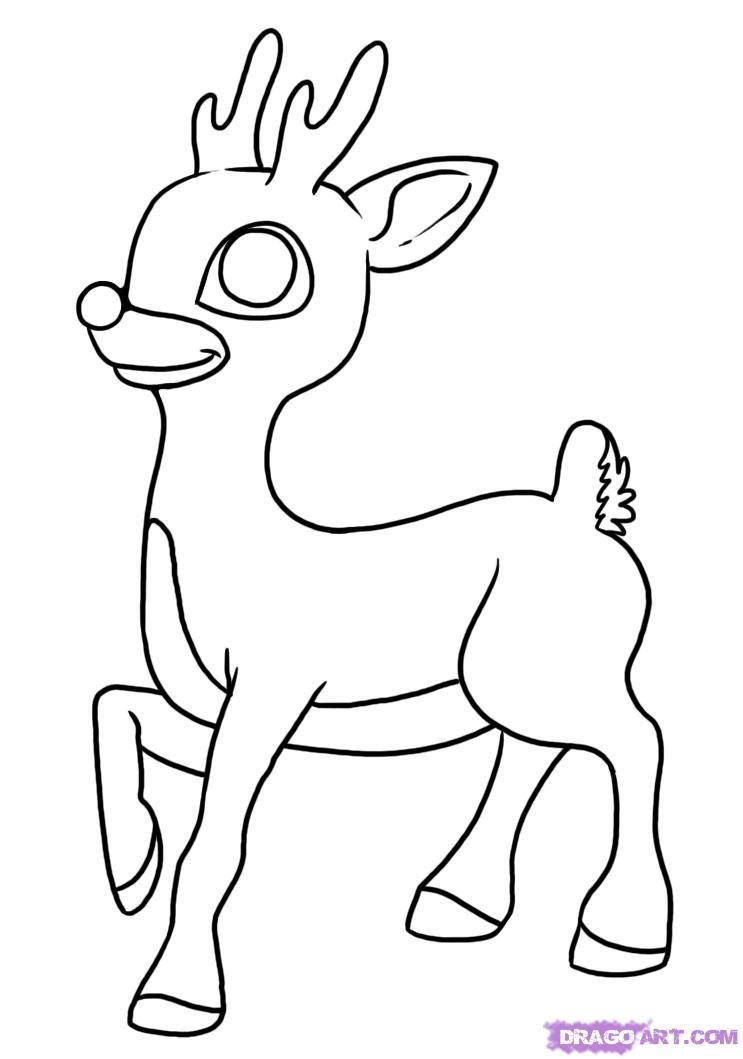 how to draw rudolph the red nosed reindeer step 6 | Ideias para a ...