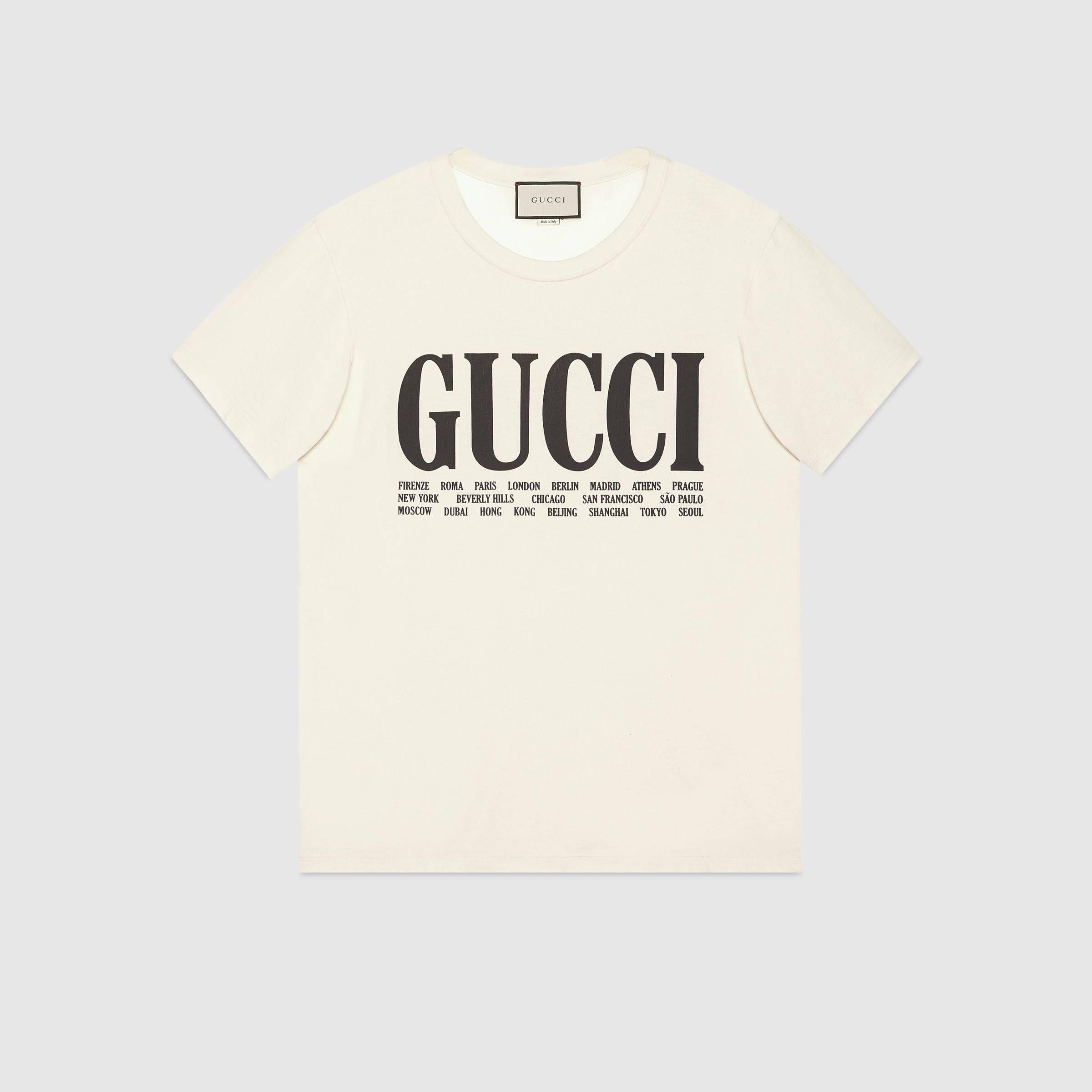 2eb56a1a8 Gucci Cities cotton T-shirt - Gucci Men's T-shirts & Polos 493117X3M227561