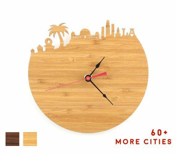 los angeles skyline clock - california map wall art