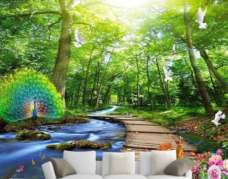 23 Lukisan Pemandangan Alam Hutan Us 8 4 55 Off Kustom Lukisan Dinding Wallpaper 3d Hutan Merak Jembatan Kayu Pem Di 2020 Pemandangan Alam Desain Undangan Perkawinan