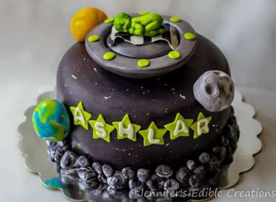 High Quality Alien/Space Themed Baby Shower Cake U2026
