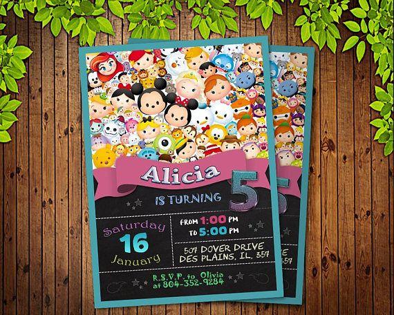 Tsum Tsum Ideas Para Fiestas: Tsum Tsum Invitation, Tsum Tsum Birthday Party, Disney