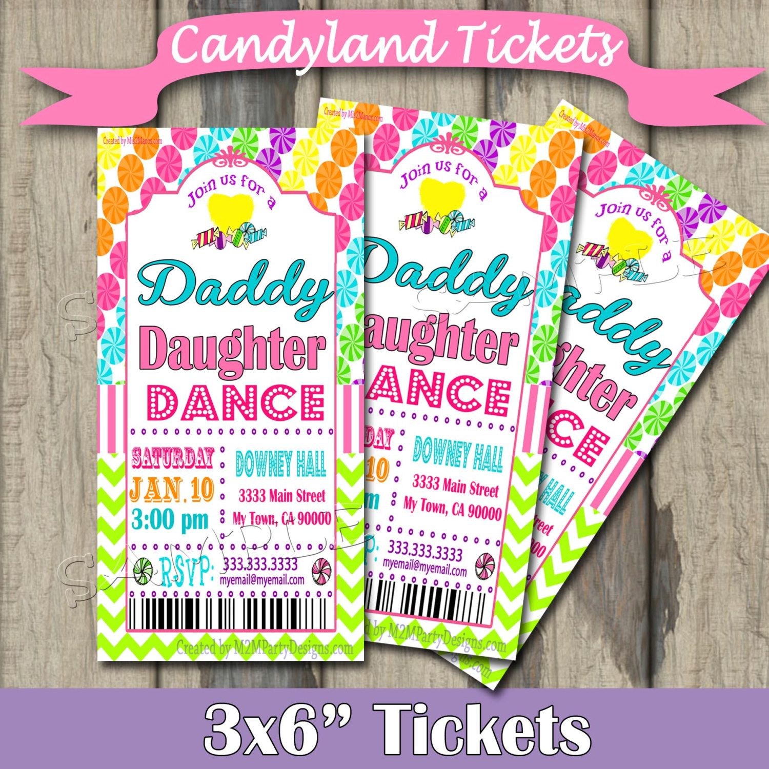 Please read full description before you place your order daddy daughter dance celebration candyland tickets invitation candy invite with chevron printable print at home diy stopboris Image collections