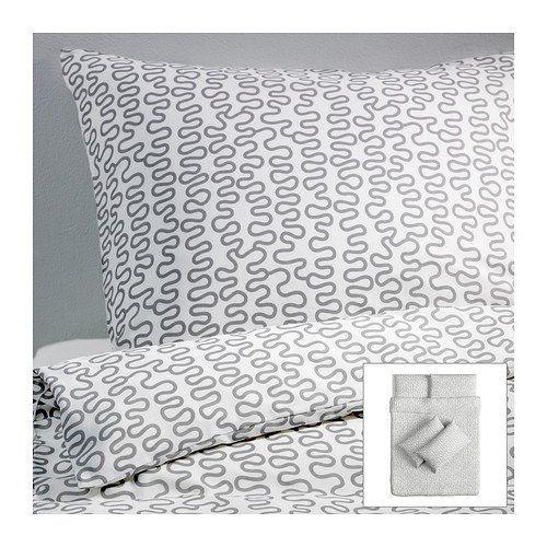IKEA KRAKRIS - Quilt cover and 4 pillowcases, grey/white