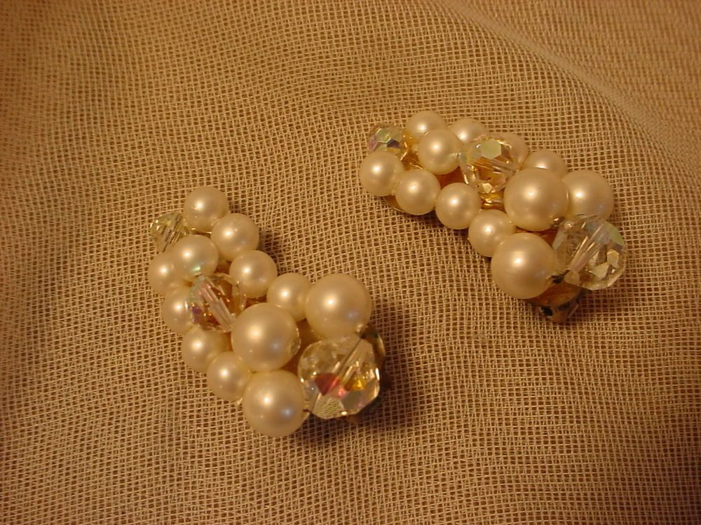 Vintage Cluster Clip Back Earrings Faux Pearl and Glass Beads Curved #Unbranded #Cluster Seller florasgarden on ebay