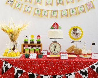 Farm Animal Birthday Party Package   Barnyard Banner   Farm Barn Bash  Cupcake Toppers   Farm