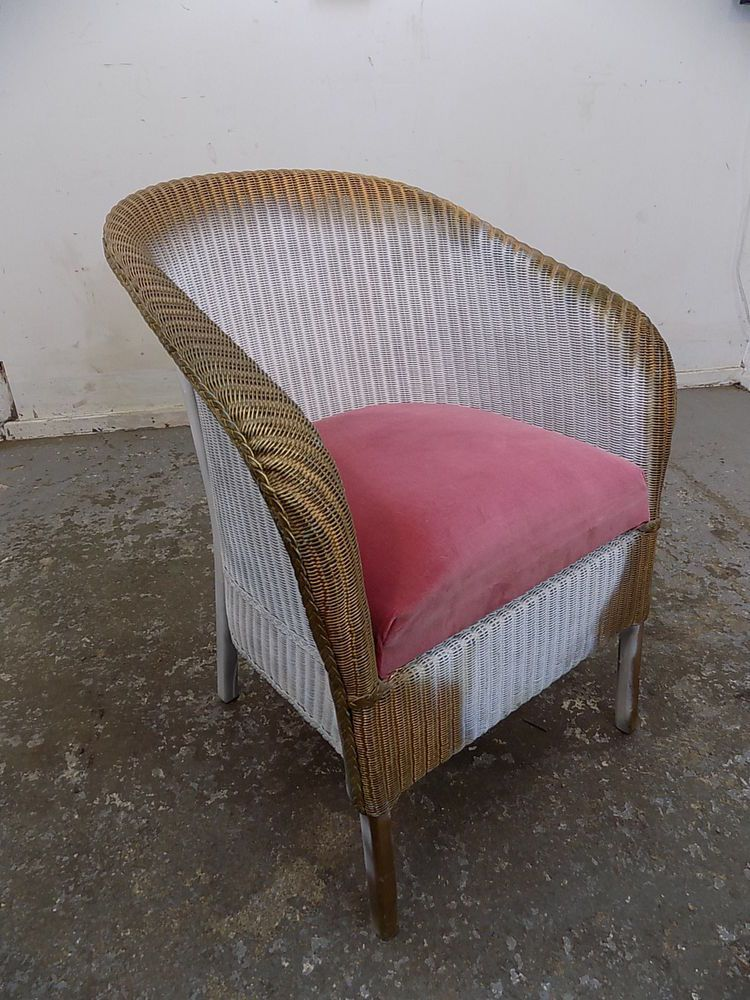 1950 S Gold White Small Vintage Wicker Arm Chair Bathroom Bedroom