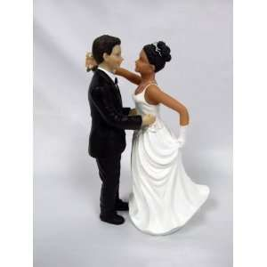 Black Bride And White Groom Wedding Cake Toppers