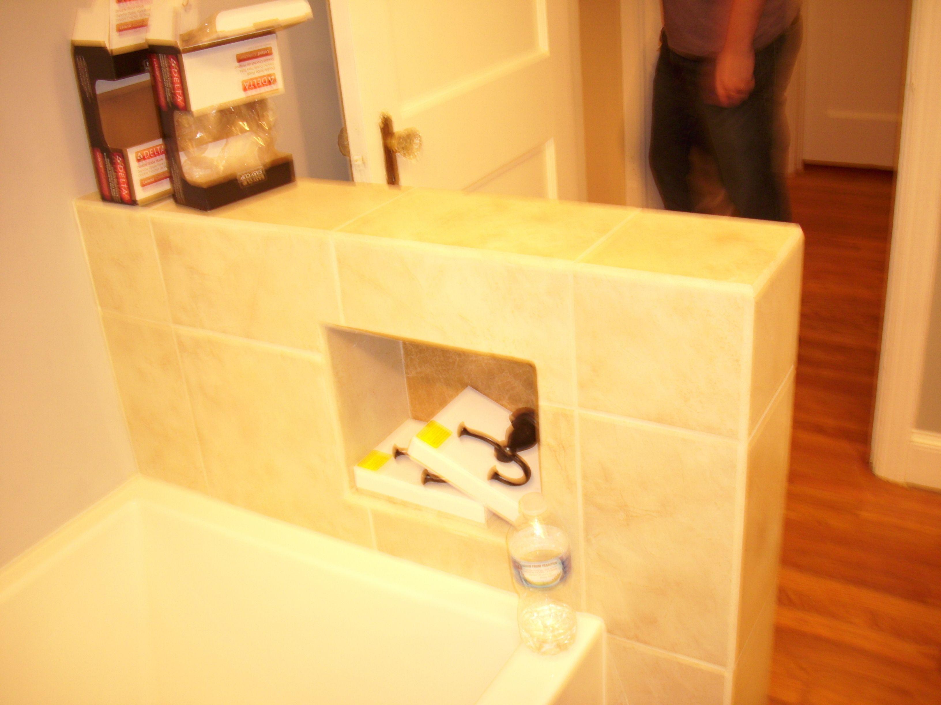Inset shelf in knee wall.   Bathroom Remodels   Pinterest   Shelving