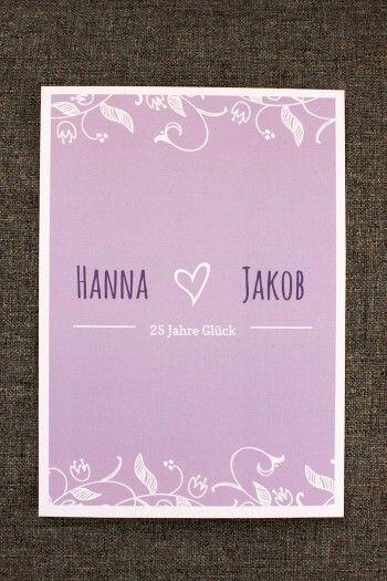 Ganz Schlichte Aber Dennoch Schöne Einladung Zu Silberhochzeit In Lila. ©  Sonja Schulz #Hochzeitspapeterie #einladungskarten #silberhochzeit