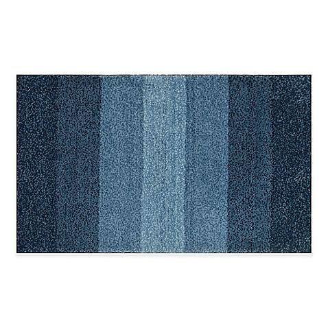Adelaide Ombre Striped 20 Inch X 33 Inch Bath Mat In Navy With