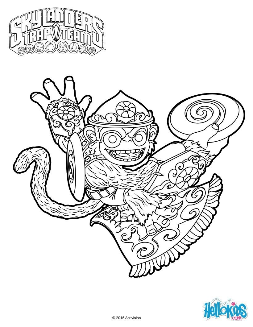fling kongyou will enjoy coloring this skylanders trap team coloring page fling kong dedicates himself to training and doing the right thing