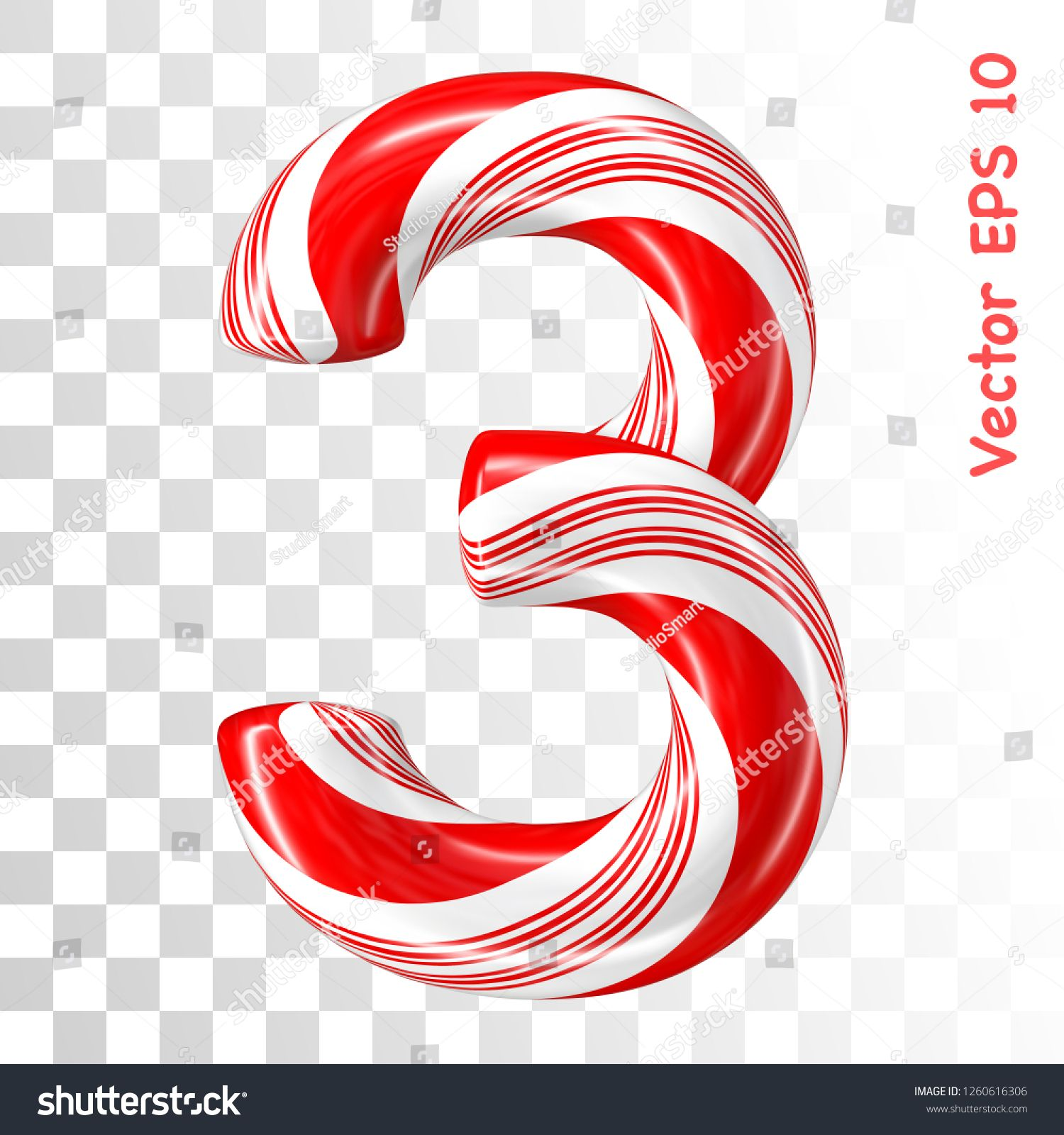Mint hard candy cane vector number collection striped in