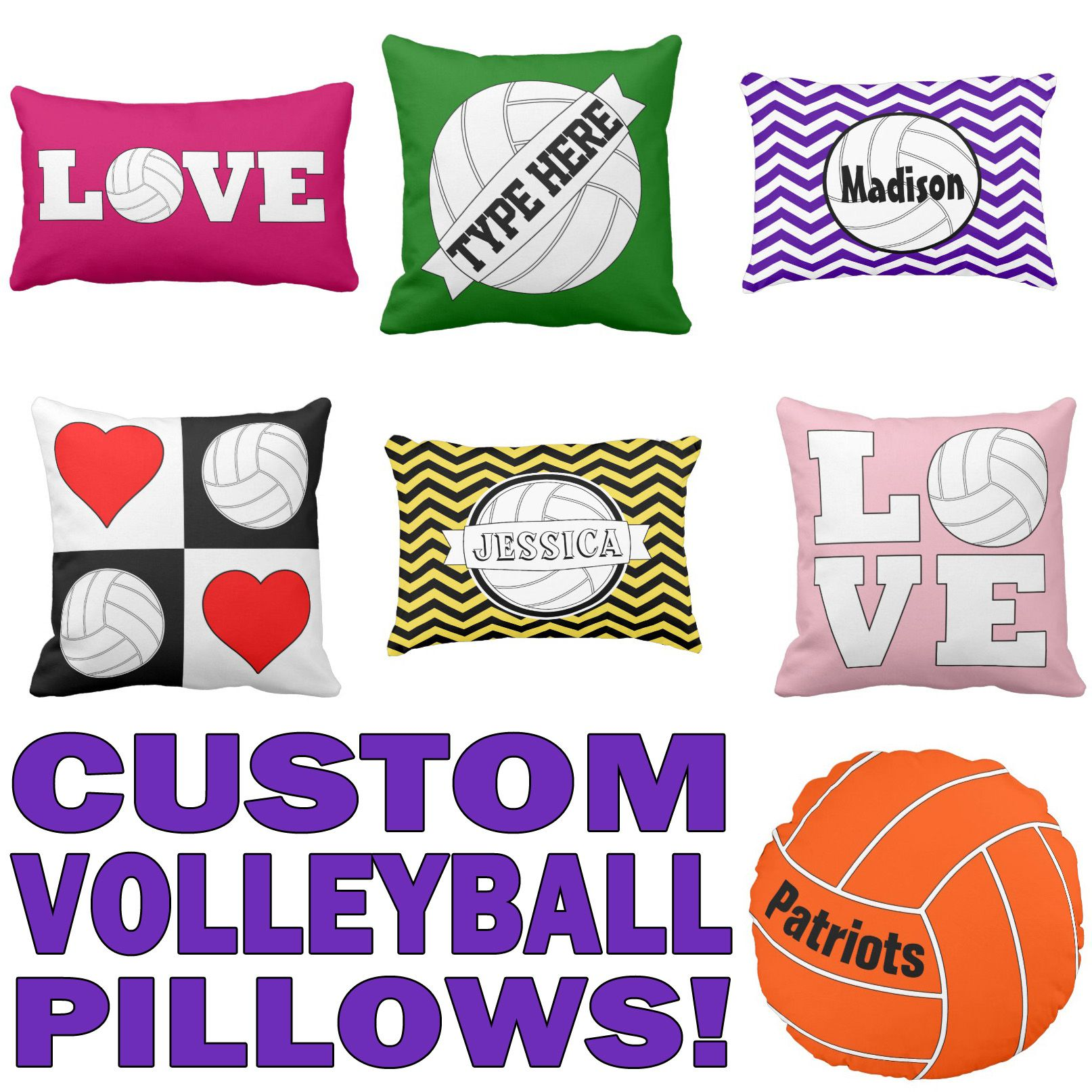Create Your Own Customized Volleyball Pillows Volleyball Pillow Zazzle Custom Volleyball Pillows Volleyball Players