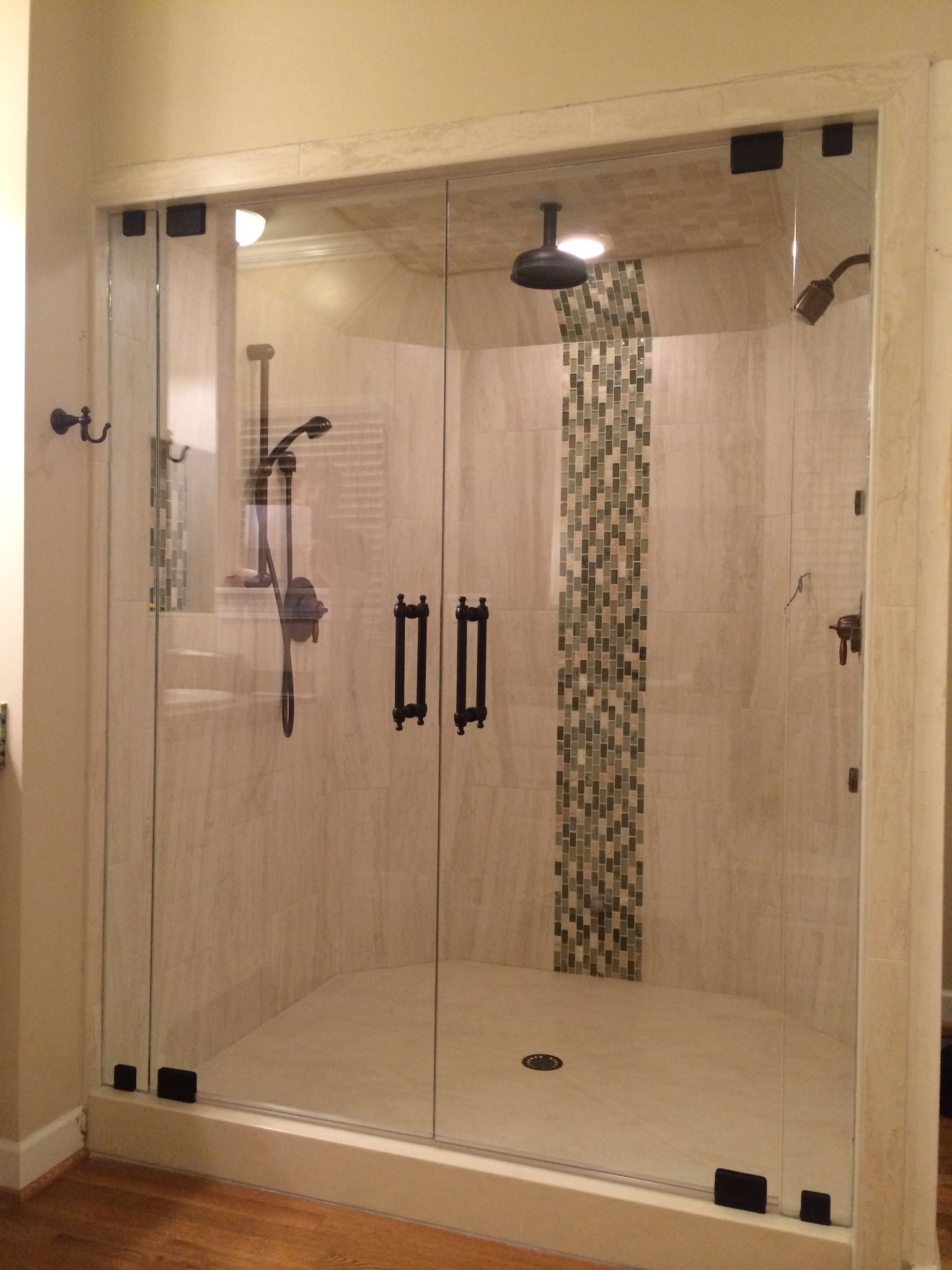 Double Door Steam Shower With Colonial Handles In Orb Hardware