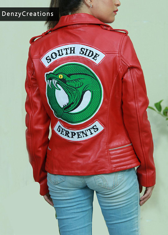Da Donna Riverdale SOUTHSIDE Serpenti GANG ROSSO COLE SPROUSE Giacca Biker in Pelle