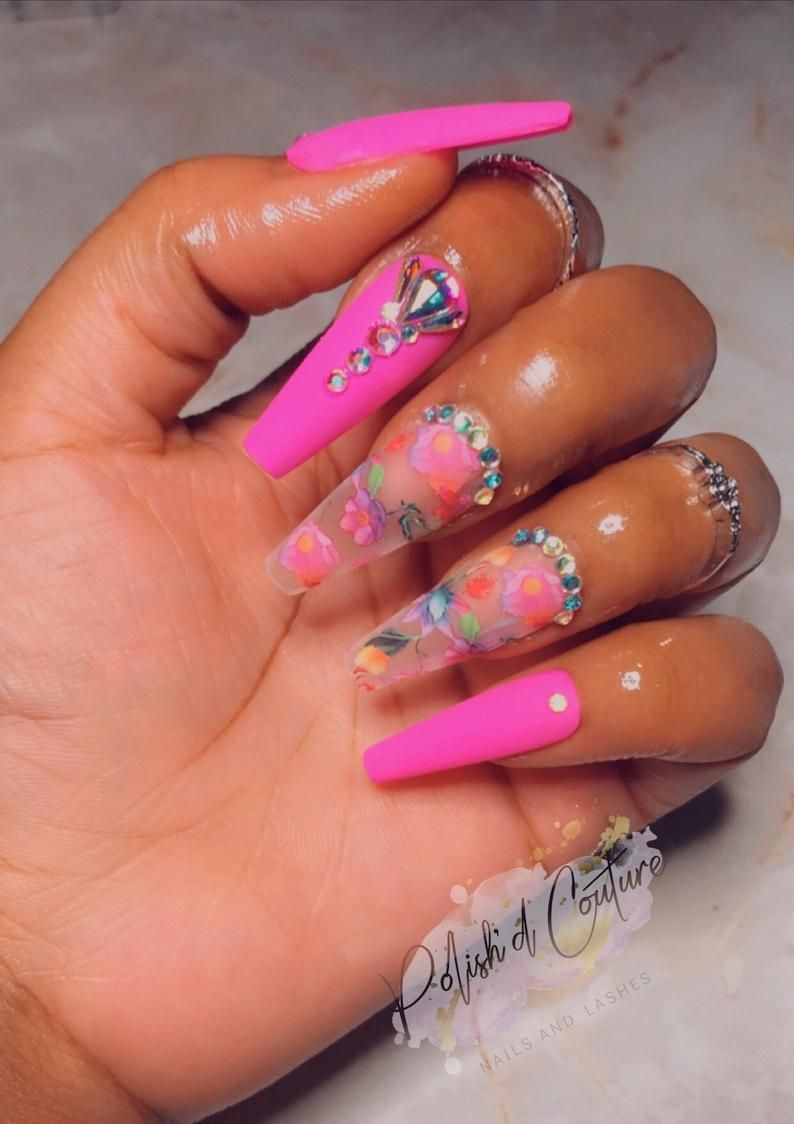 Floral bling press on nails press on nails glue on nails
