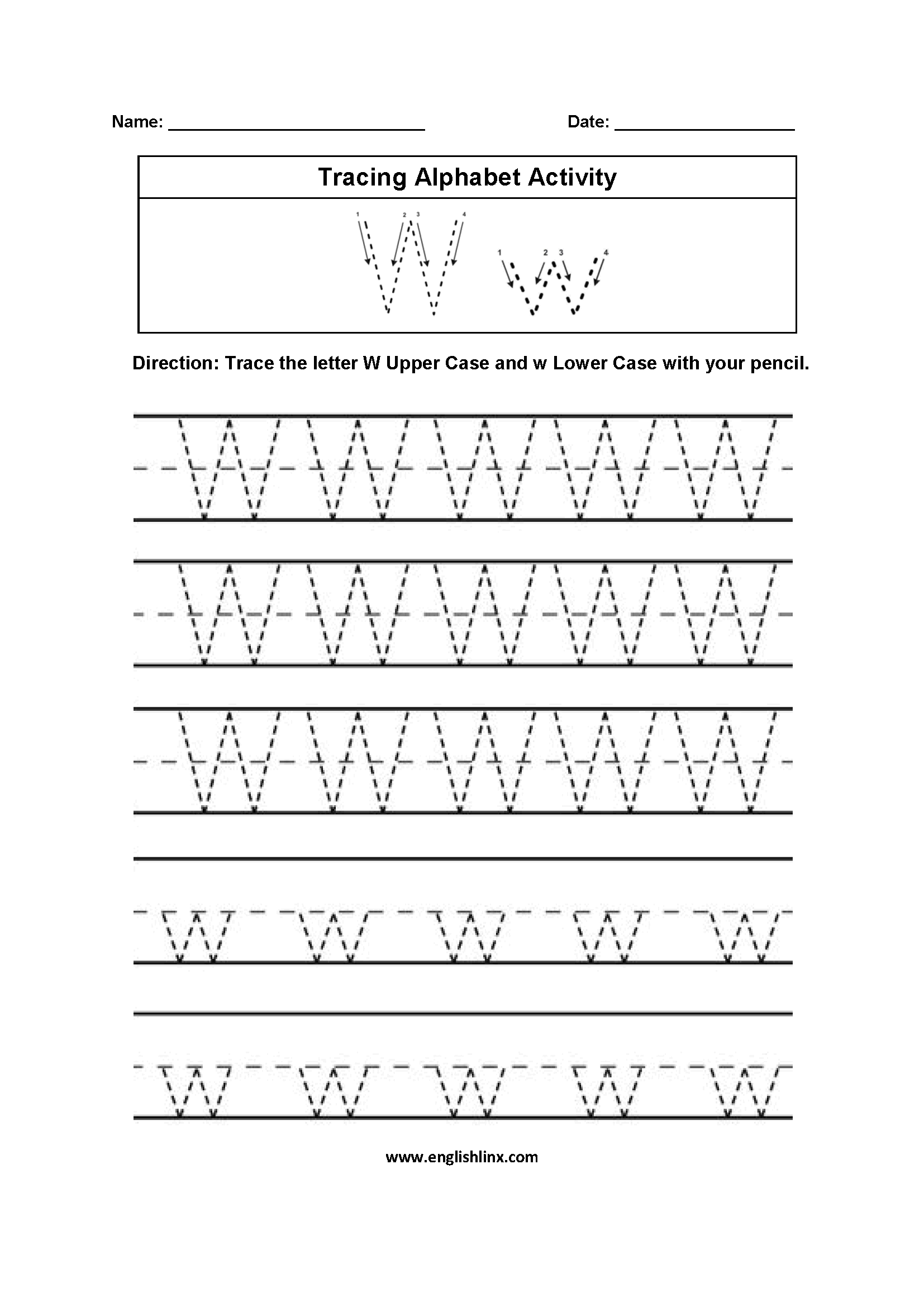 Letter W Tracing Alphabet Worksheets Tracing Worksheets Preschool Alphabet Worksheets Name Tracing Worksheets [ 2339 x 1654 Pixel ]