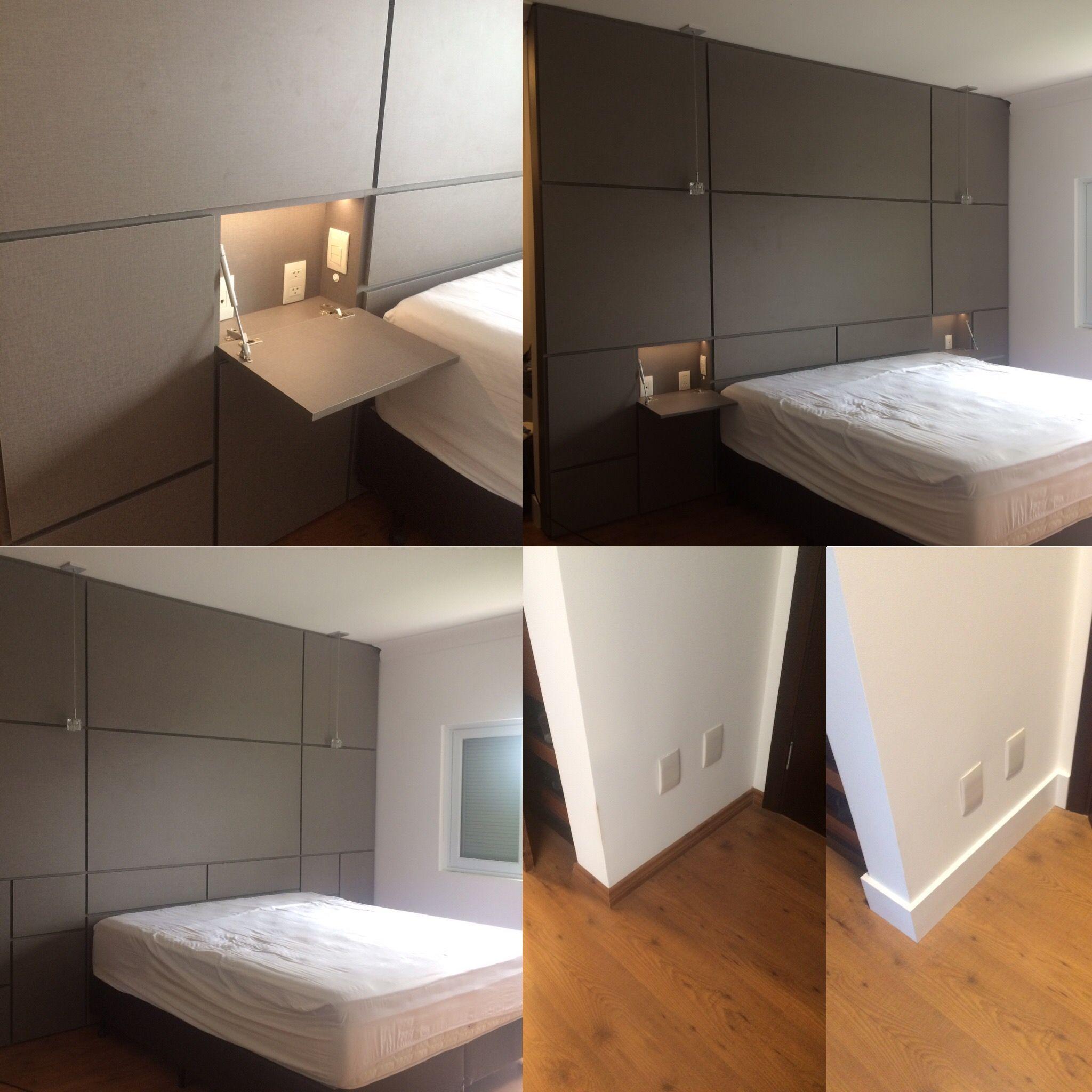 Em Itatiba Design Cassiana Franco criou Cabeceira de cama de casal King Size, em MDF com textura de linho cinza, com criado mudo oculto e antes e depois de Rodapé.