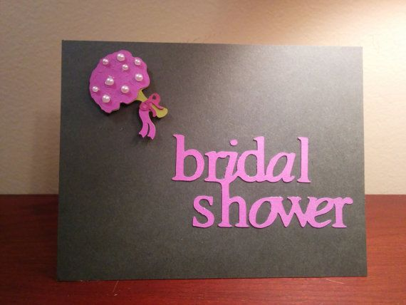Bridal shower card with bouqet black and purple by duckduckRobyn, $4.00