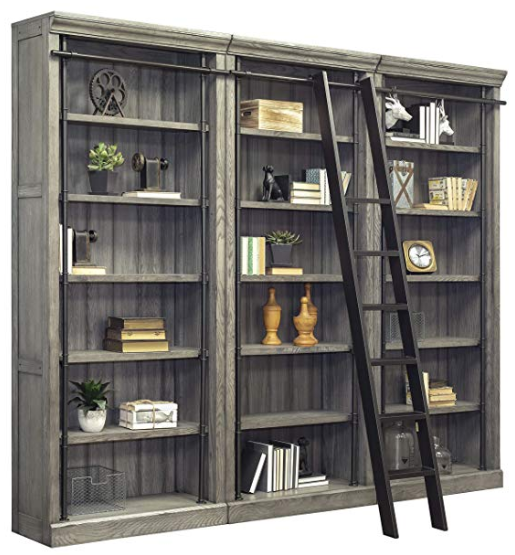 Wood Includes 3 Bookcases And Matching Ladder Five Adjustable