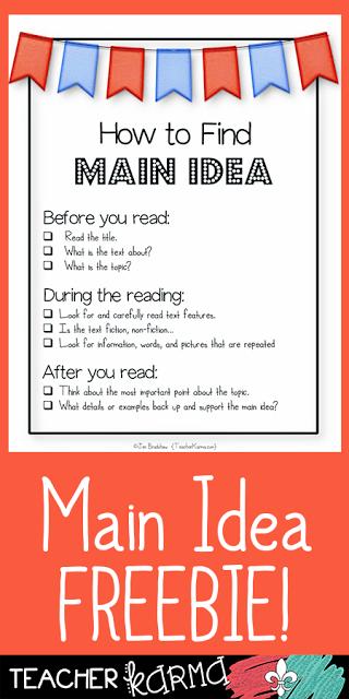 How To Teach Main Idea Reading Teaching Main Idea