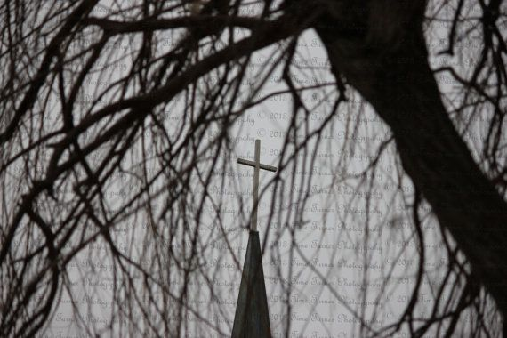 black & white bit of color Church Steeple dreary by TimeTurnerPics, $9.00