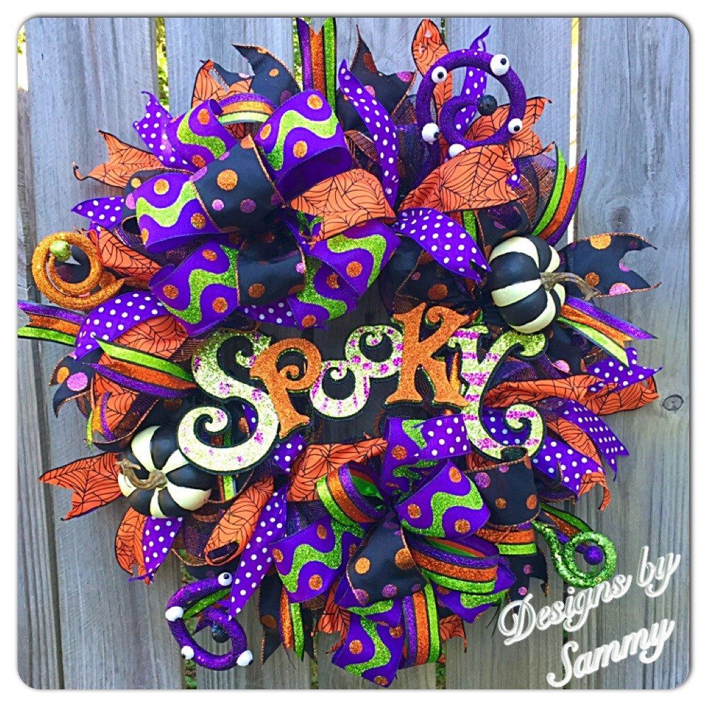 Halloween Wreath Spooky Purple Green Orange and Black ...