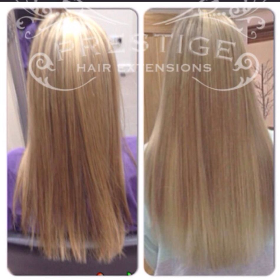 Before And After Keratin Bonded Prestige Hair Extensions Blonde