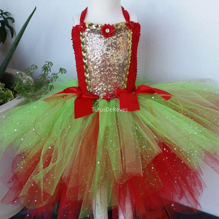 Robe tutu de Noël, déguisement de lutin fille, robe en tulle bébé et fille, rouge, verte, dorée; tenue de fête, cadeau de Noël enfant