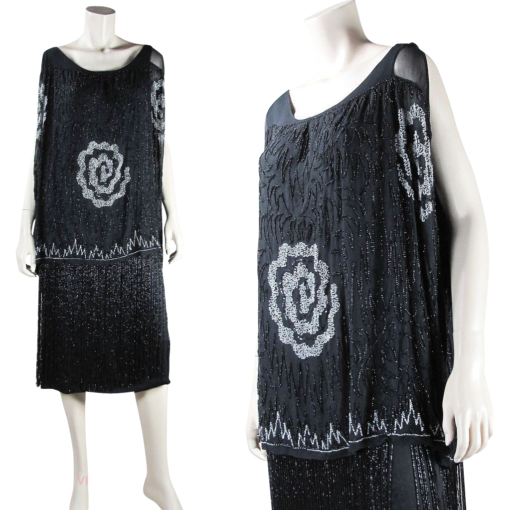 Us vintage art deco beaded flapper dress with fringed skirt and
