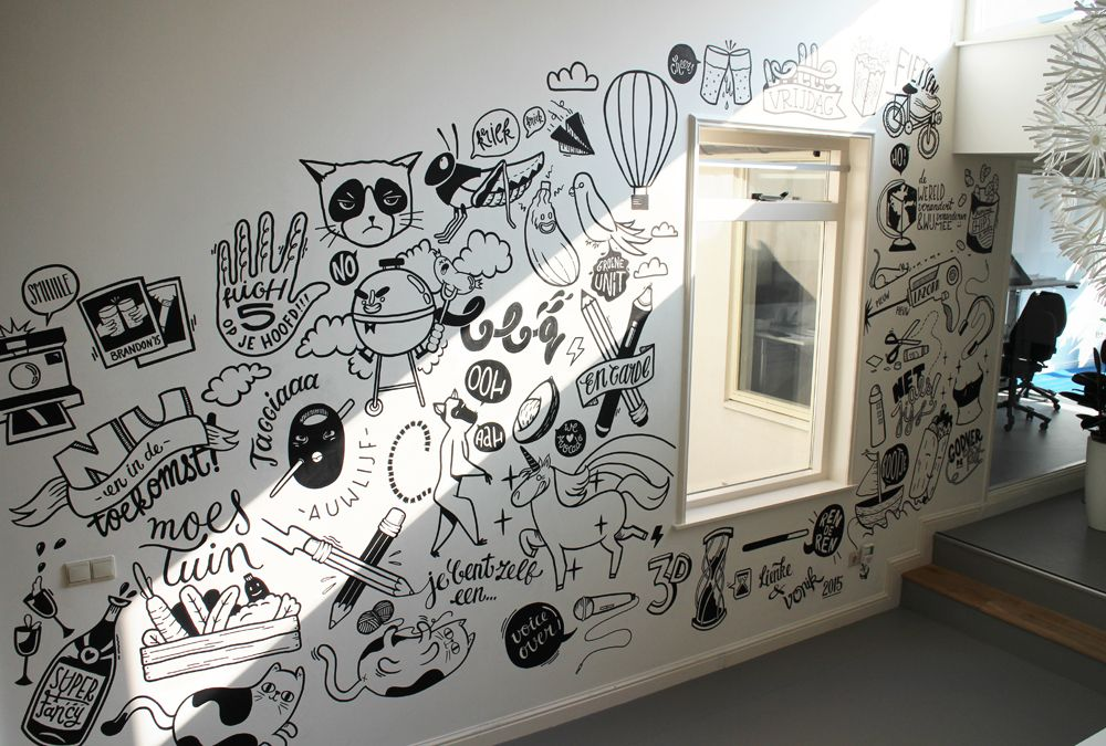 Lienke Raben S Doodle Ish Illustrations Friday Illustrated Office Mural Mural Design Wall Graphics